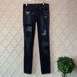 AEO Distressed Patch Skinny Jeans X-long